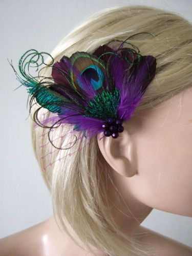 "Ultra Violet Purple Green  Peacock Feathers Fascinator Hair Clip ""Avril"""